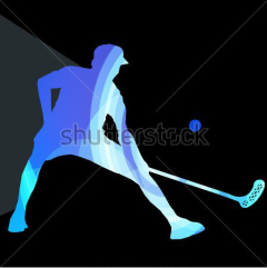 stock-vector-floorball-player-man-silhouette-hockey-with-stick-and-ball-illustration-vector-background-colorful-303395264